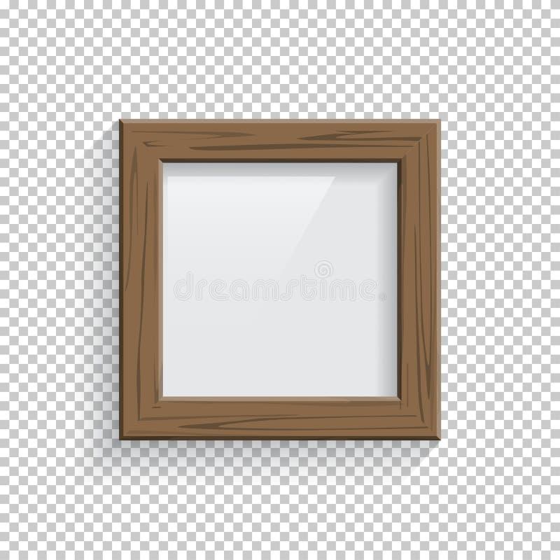 Imagen del cuadrado o marco de madera de la foto aislado en fondo transparente Elemento del diseño del vector stock de ilustración