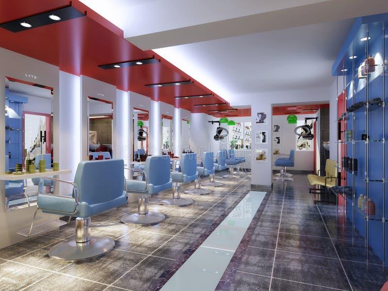 Imagen del departamento de peluquero de la representación que muestra sillas ilustración del vector