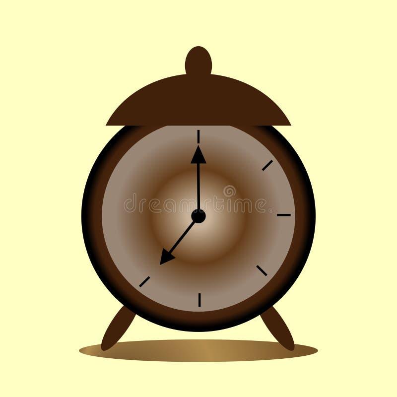 Imagen del despertador marrón con las flechas retras del viejo estilo ilustración del vector