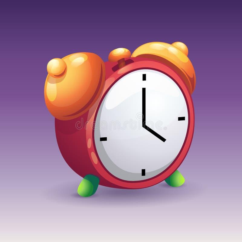 Imagen del despertador rojo con las campanas amarillas stock de ilustración