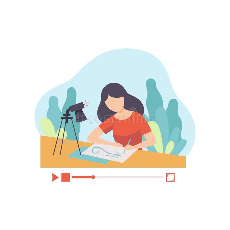 Imagen del dibujo de la muchacha, Blogger de la mujer joven que crea el contenido sobre su afición y que lo fija en medios social ilustración del vector