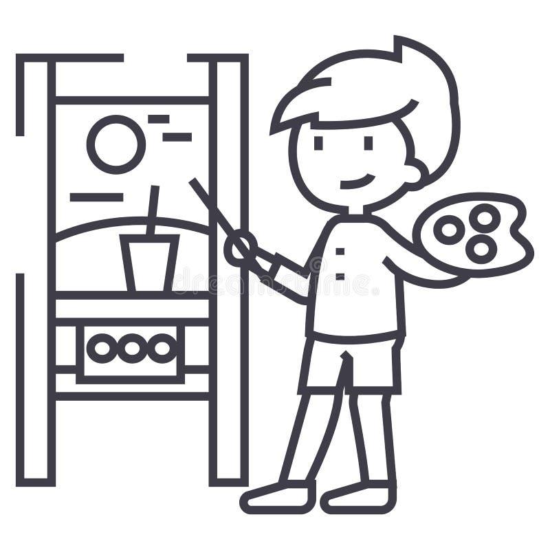 Imagen del dibujo del muchacho, línea icono, muestra, ejemplo del vector del molbert en el fondo, movimientos editable libre illustration