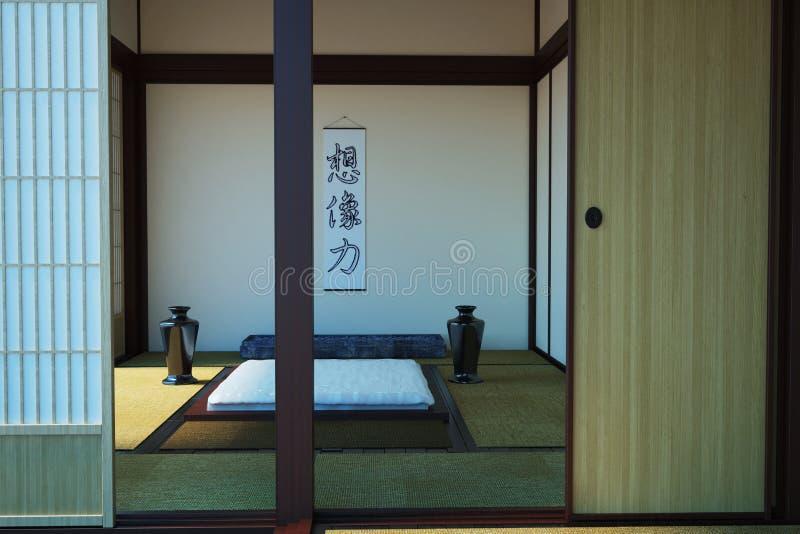 Imagen del dormitorio interior en el estilo japonés stock de ilustración