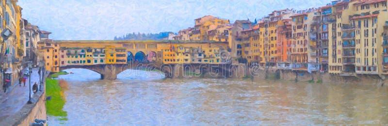 Imagen del estilo de la pintura al óleo de Ponte Vecchio, Florencia libre illustration