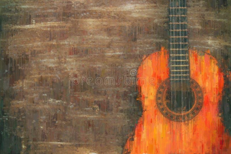 imagen del extracto del estilo de la pintura al óleo de la guitarra acústica fotos de archivo libres de regalías