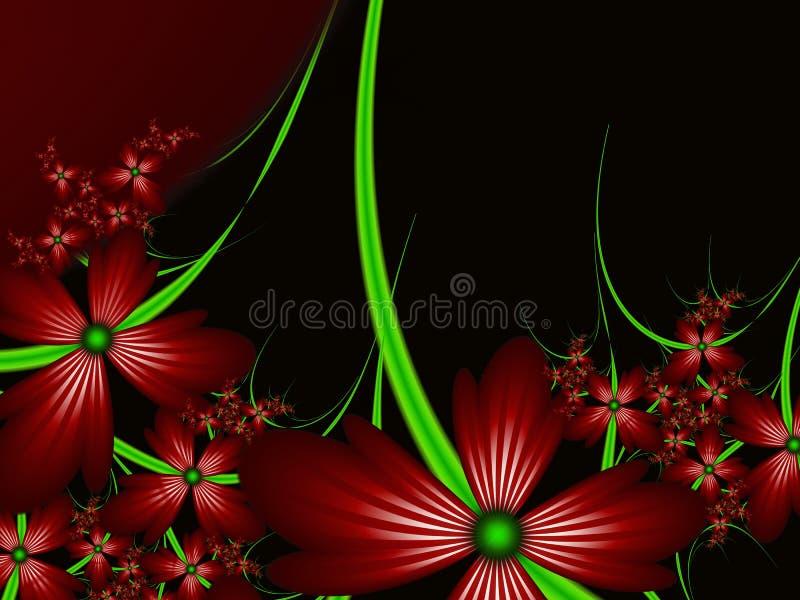 Imagen del fractal con las flores Para su texto Color verde y rojo stock de ilustración