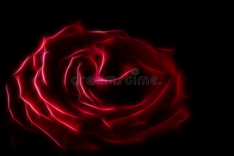 Imagen del fractal de una rosa roja grande de Terry en un fondo negro que pone en contraste fotos de archivo