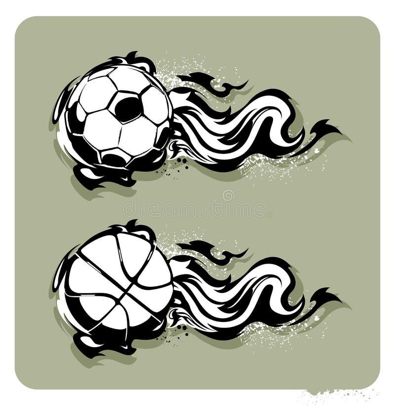 Imagen del Grunge con las bolas de fuego ilustración del vector