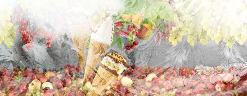 imagen del helado y de la fruta en un fondo de la ventana del invierno imagen de archivo libre de regalías