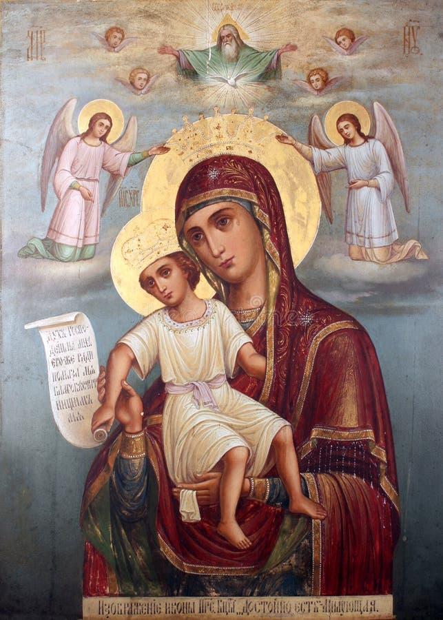 Imagen del icono de la Virgen bendecida imagen de archivo
