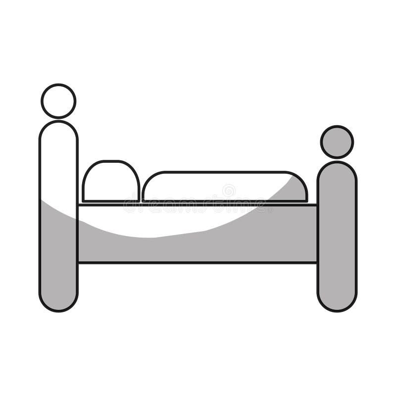 imagen del icono del hotel o del motel del pictograma el dormir de la persona ilustración del vector