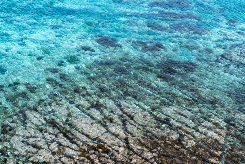 Imagen del mar con agua clara con los rastros inferiores imagen de archivo libre de regalías