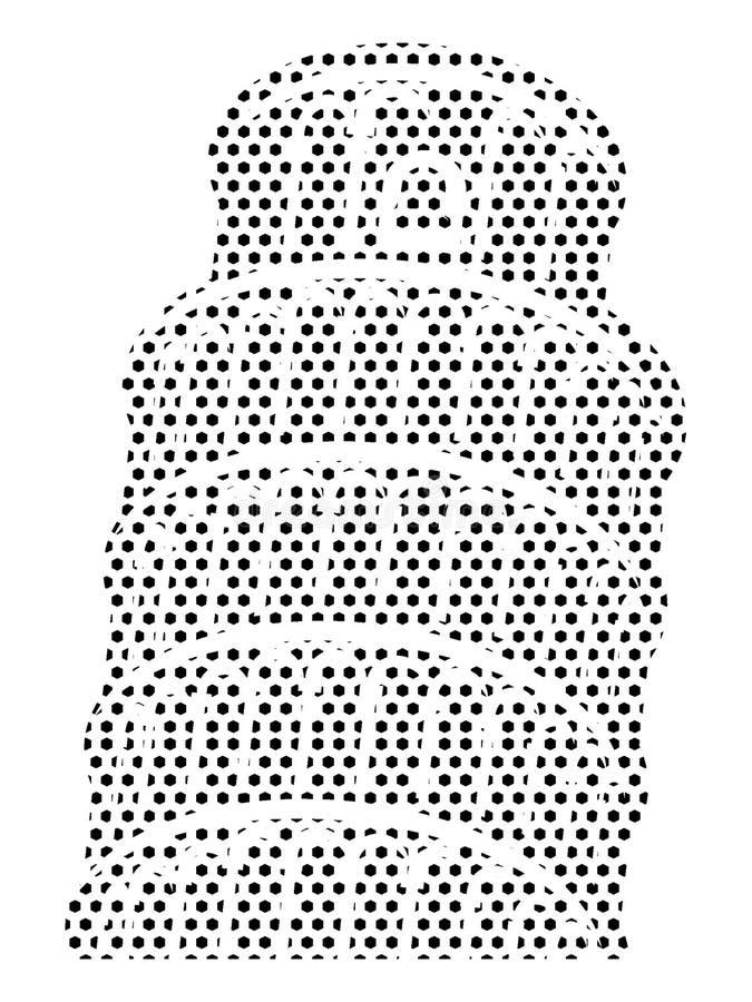 Imagen del modelo punteado de la torre inclinada de Pisa stock de ilustración