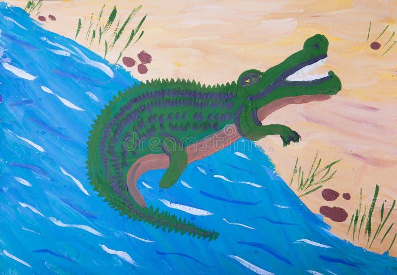 Imagen del niño del cocodrilo ilustración del vector