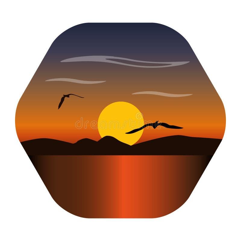 Imagen del paisaje de una puesta del sol, del sol del amanecer sobre las montañas en el fondo y de nubes arriba libre illustration