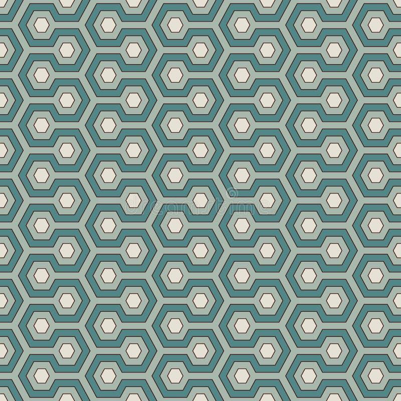 Imagen del panal Background Los colores azules repitieron el papel pintado de las tejas del hexágono Modelo inconsútil con el orn ilustración del vector