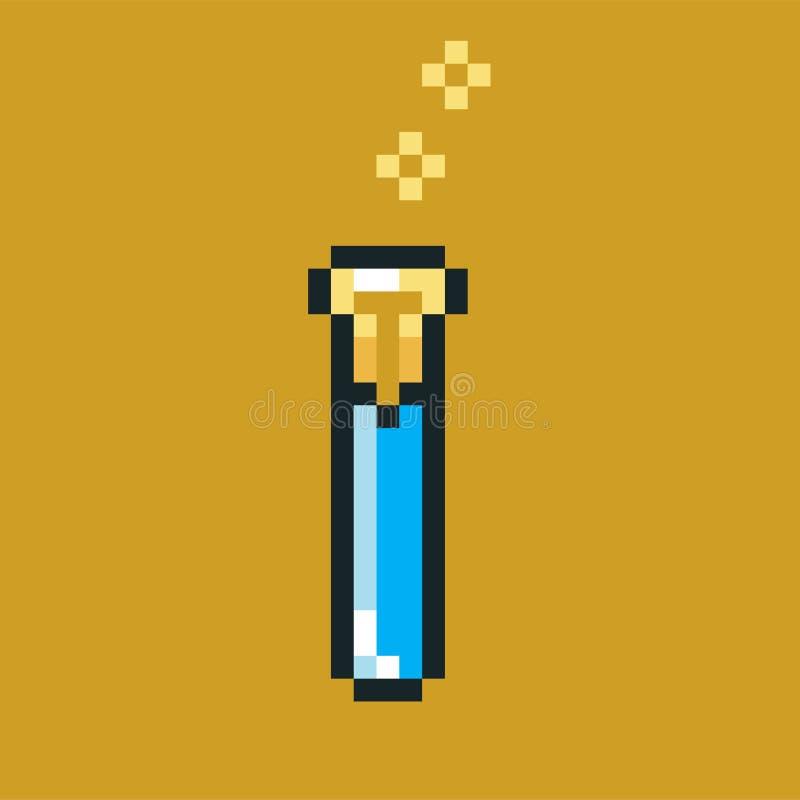 Imagen del pixel con una poción que expressa con gorjeos azul en un frasco o un frasco foto de archivo