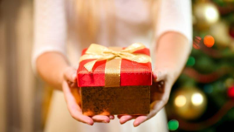 Imagen del primer de la mujer joven con la caja de regalo de la Navidad que se coloca en el árbol de navidad fotografía de archivo