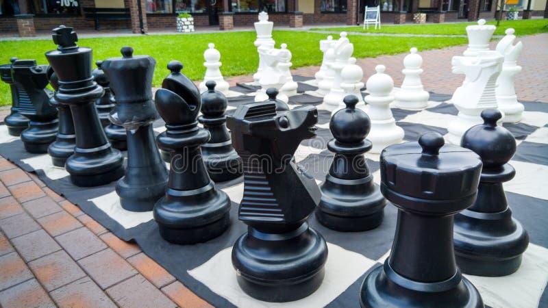 Imagen del primer de las figuras grandes blancos y negros del ajedrez para jugar en parque imagenes de archivo