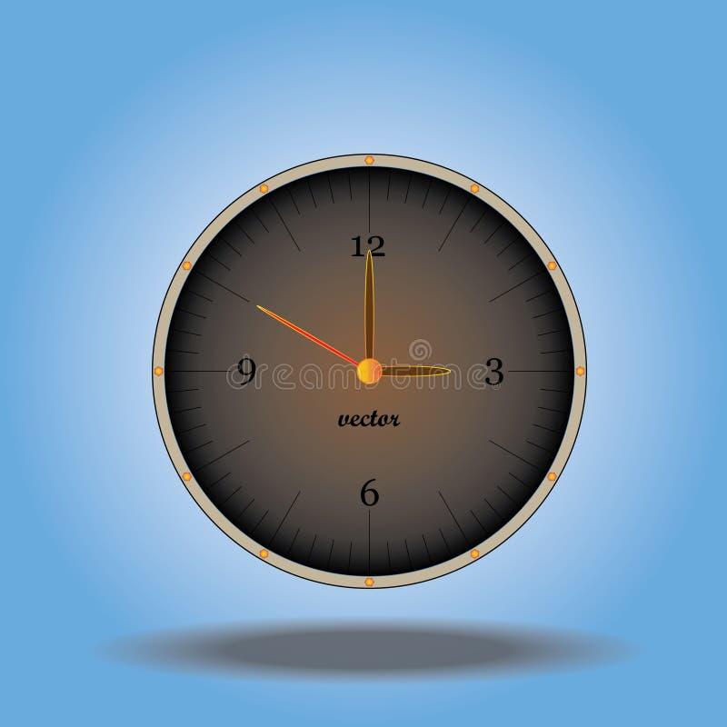 Imagen del reloj del vector, estilo del vintage fotos de archivo