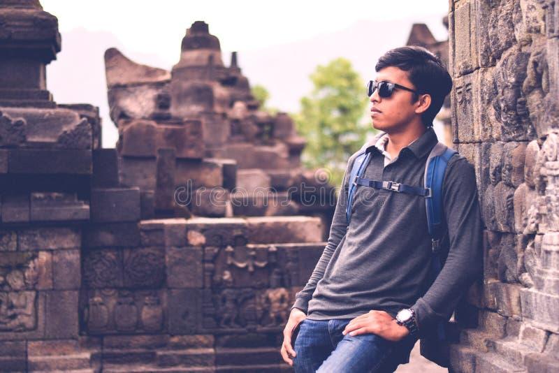 Imagen del retrato en el templo de Borobudur fotos de archivo libres de regalías
