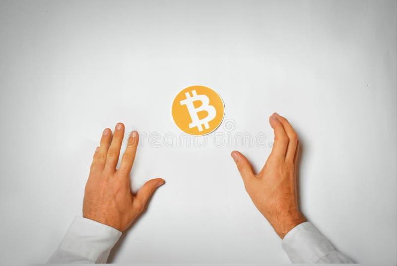 Imagen del símbolo de la avaricia de Bitcoin foto de archivo libre de regalías