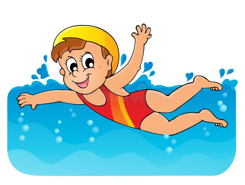 Imagen 1 del tema de la natación stock de ilustración