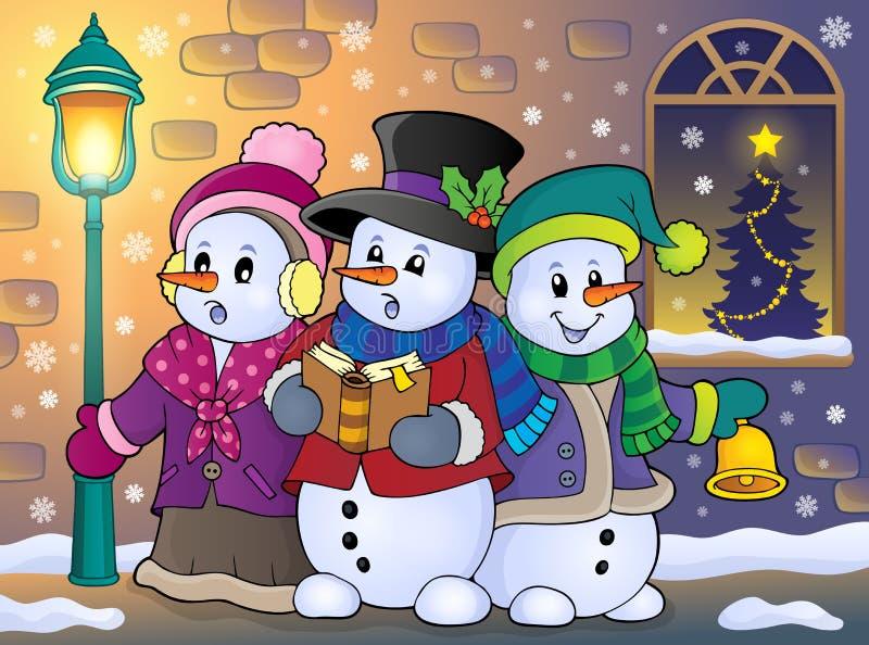 Imagen 5 del tema de los cantantes del villancico de los muñecos de nieve stock de ilustración