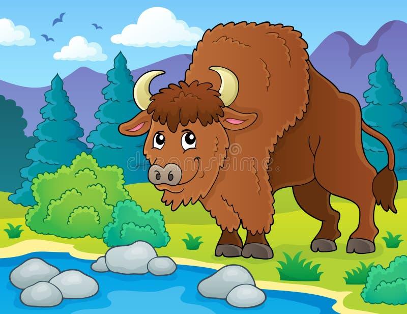 Imagen 2 del tema del bisonte ilustración del vector