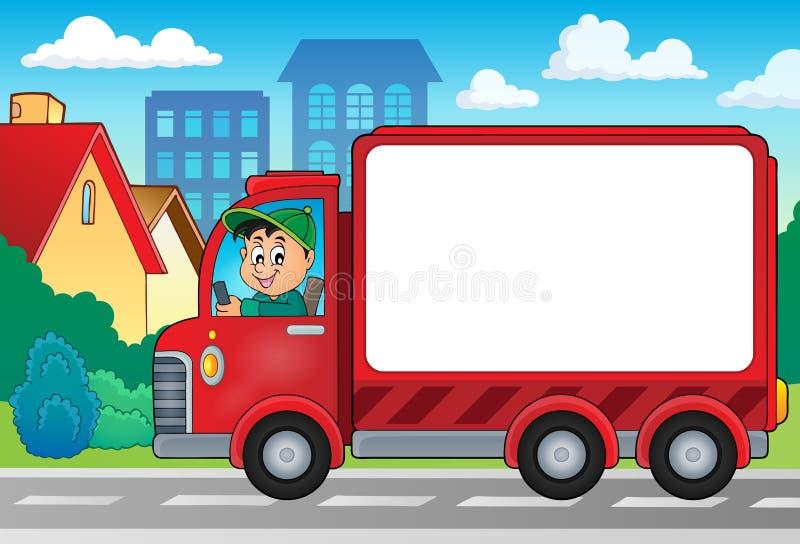 Imagen 4 del tema del coche de entrega stock de ilustración