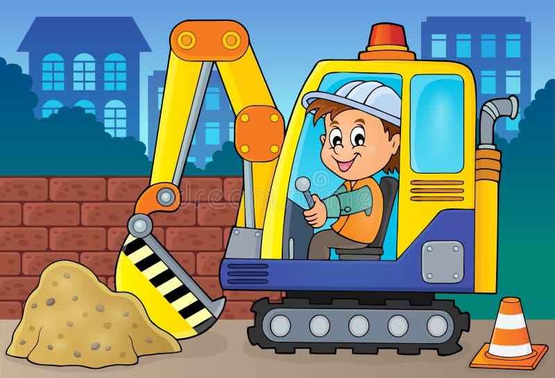 Imagen 2 del tema del operador del excavador ilustración del vector