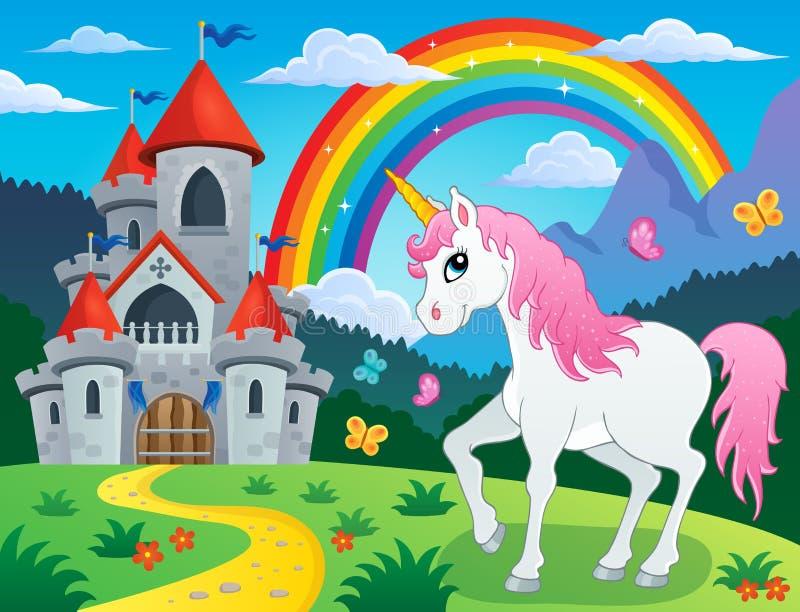 Imagen 4 del tema del unicornio del cuento de hadas ilustración del vector