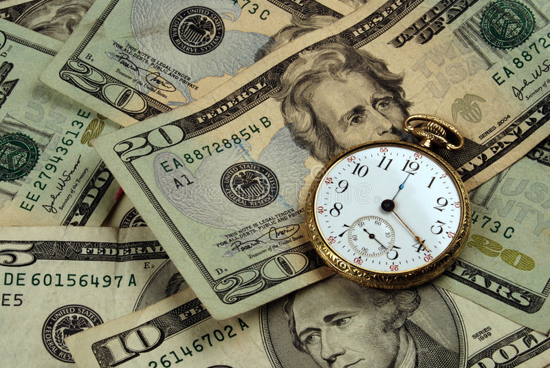 Imagen del tiempo y del concepto del dinero imagen de archivo