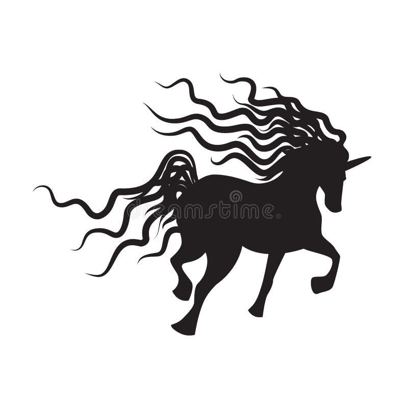 Imagen del unicornio de la silueta del vector stock de ilustración