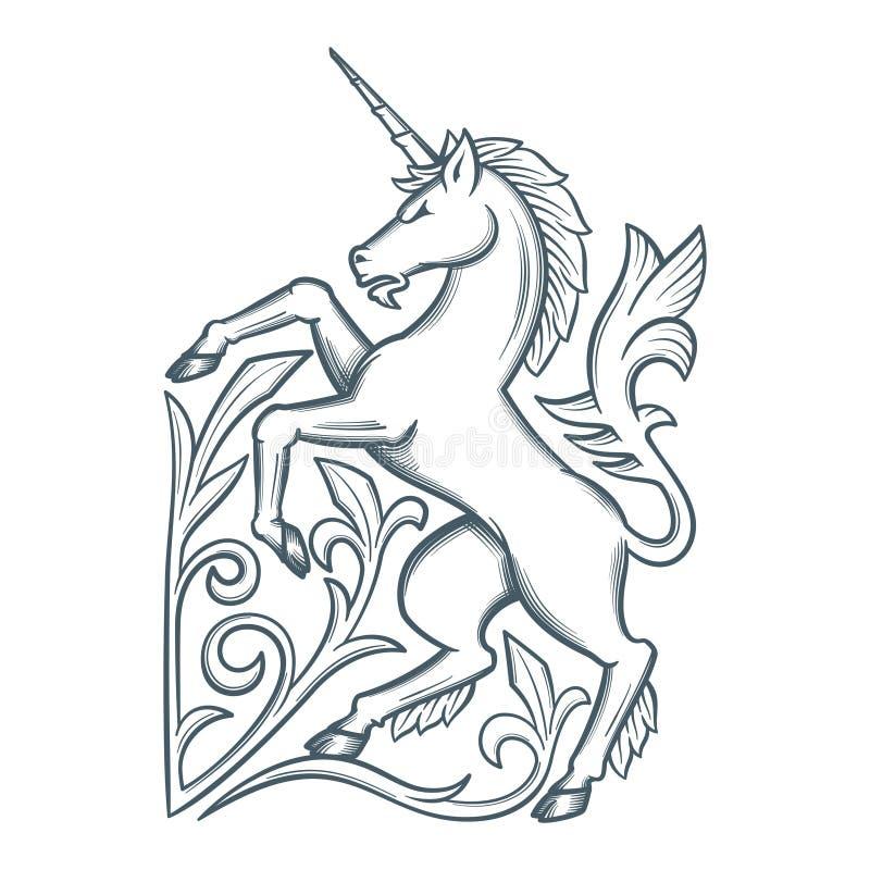 Imagen del unicornio heráldico ilustración del vector