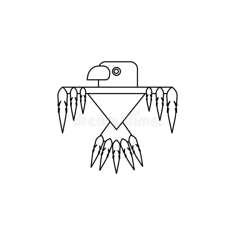 Imagen del vector del águila india El carácter histórico del ` s del pájaro icono stock de ilustración