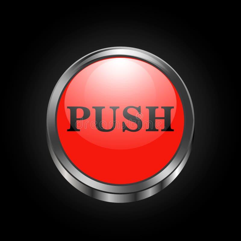 Imagen del vector del botón metálico rojo stock de ilustración