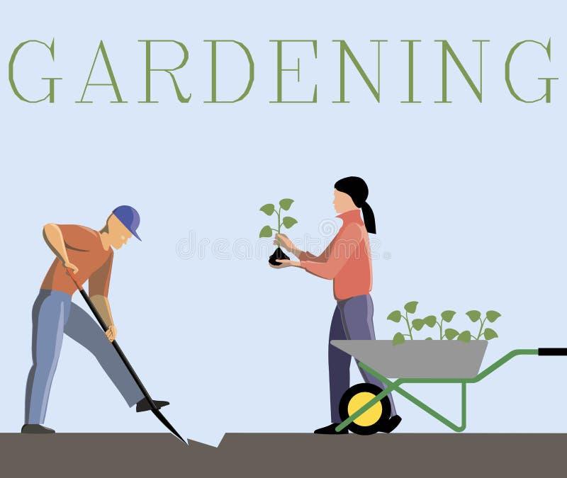 Imagen del vector del color de pares que cultivan un huerto libre illustration