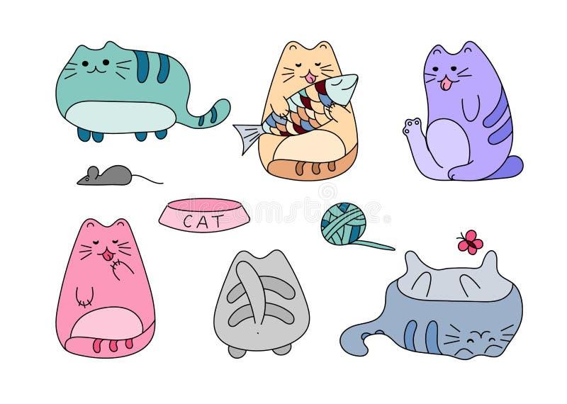 Imagen del vector con los gatos dibujados mano divertida Ejemplo del vector de los animales con los gatitos blancos adorables ilustración del vector