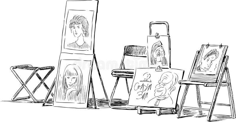 Imagen del vector de bosquejos de un artista de la calle libre illustration