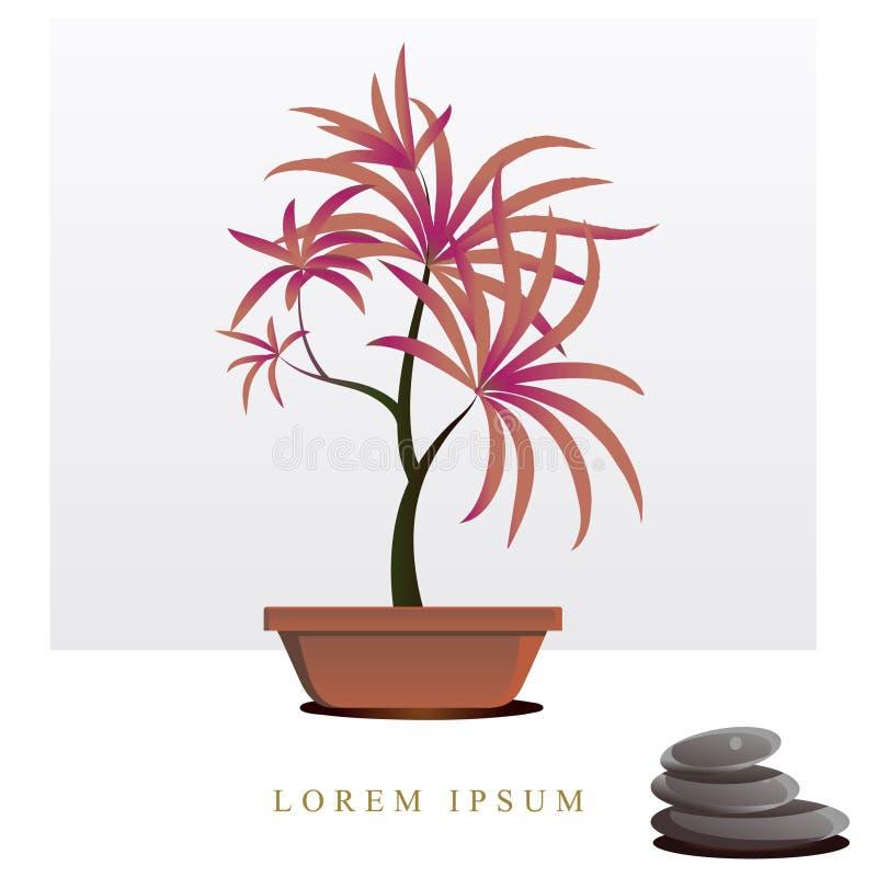 Imagen del vector de flores y de plantas en los potes, ikebana stock de ilustración