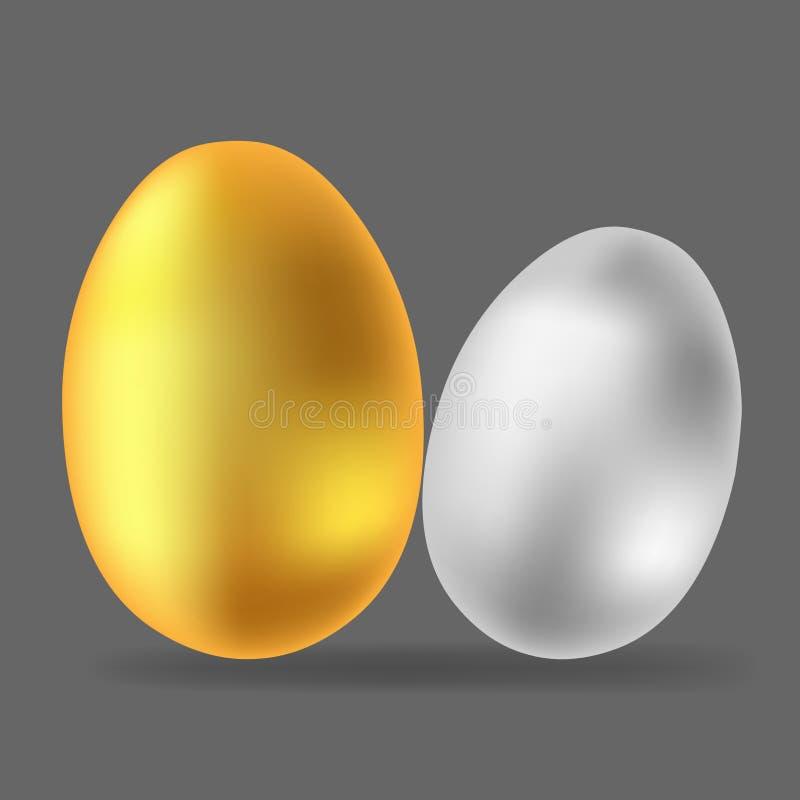 Imagen del vector de huevos Icono del huevo del oro y de la plata stock de ilustración
