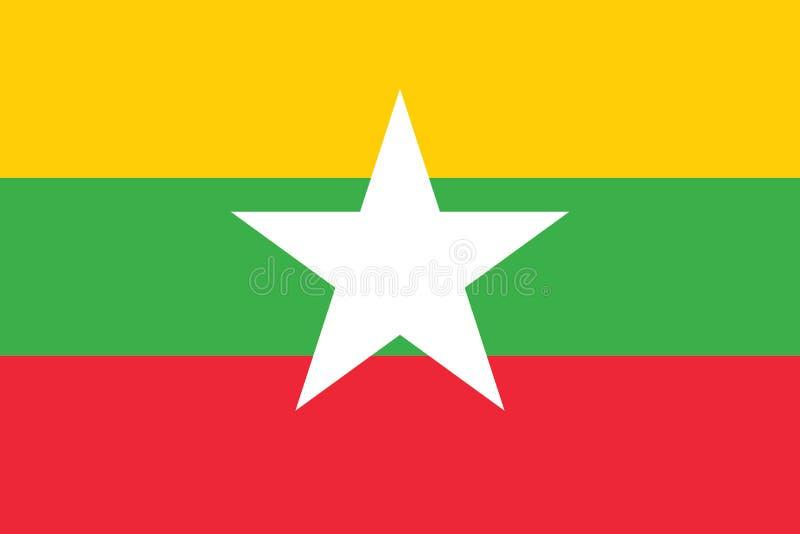 Imagen del vector de la bandera de Myanmar stock de ilustración