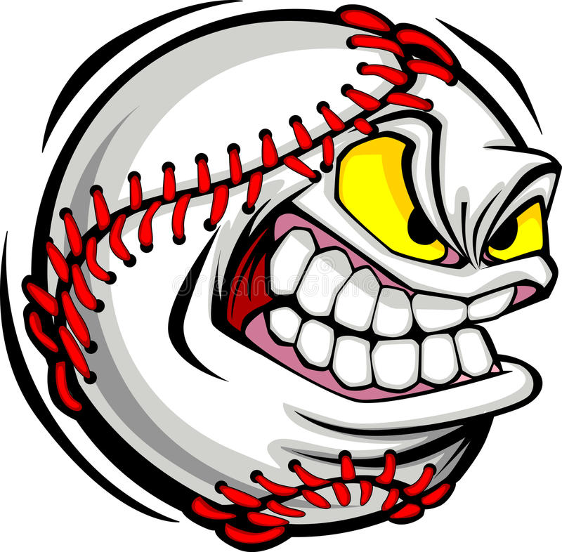 Imagen del vector de la cara de la bola del béisbol stock de ilustración