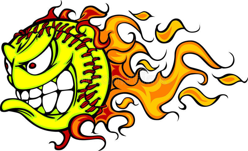 Imagen del vector de la cara de la bola el flamear Fastpitch stock de ilustración