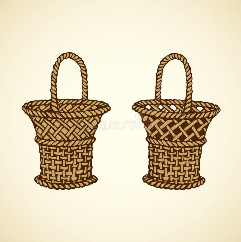 Imagen del vector de la cesta de la cestería ilustración del vector