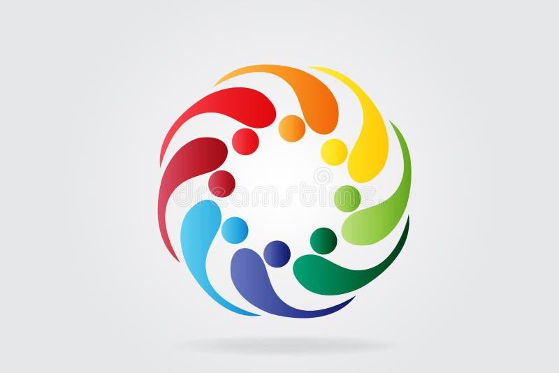 Imagen del vector de la gente del trabajo en equipo de la comunidad del logotipo libre illustration