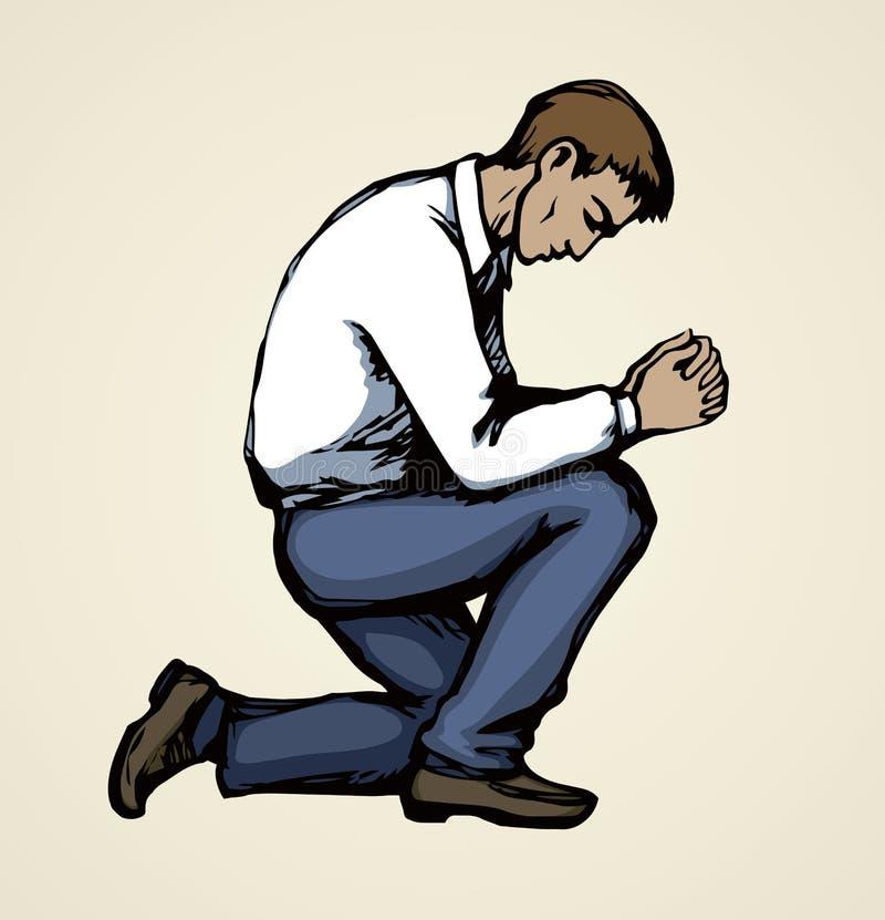 Imagen del vector de la persona de rogaci?n stock de ilustración