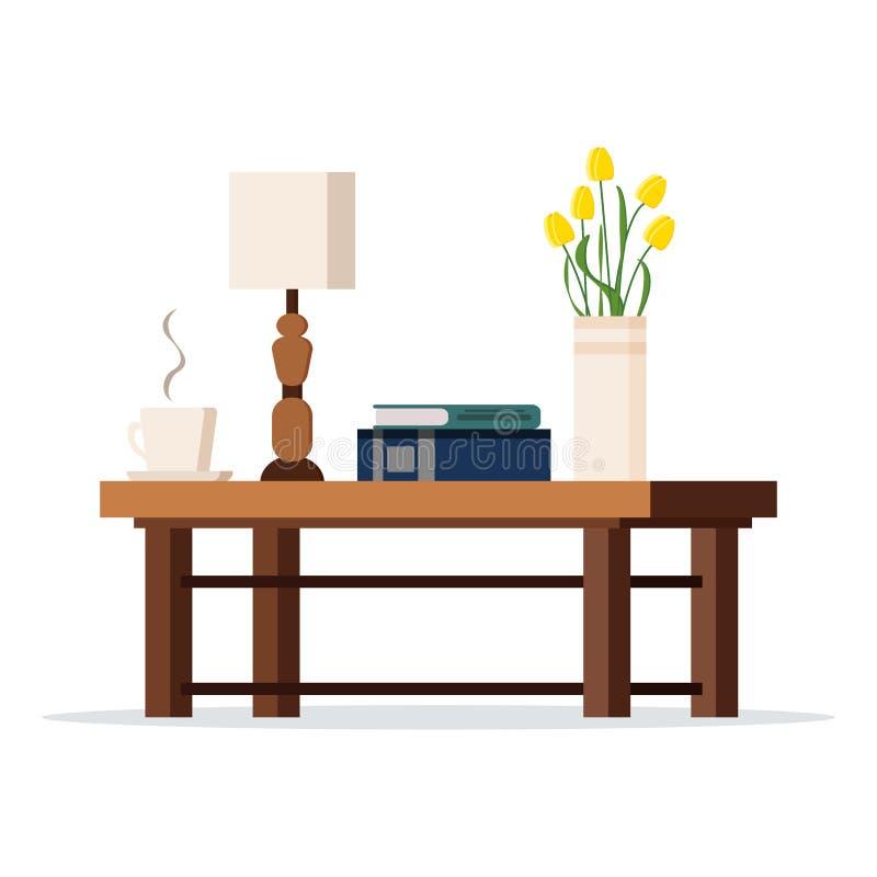 Imagen del vector de la tabla de madera del coffe con la lámpara, florero con los tulipanes, libros, taza libre illustration