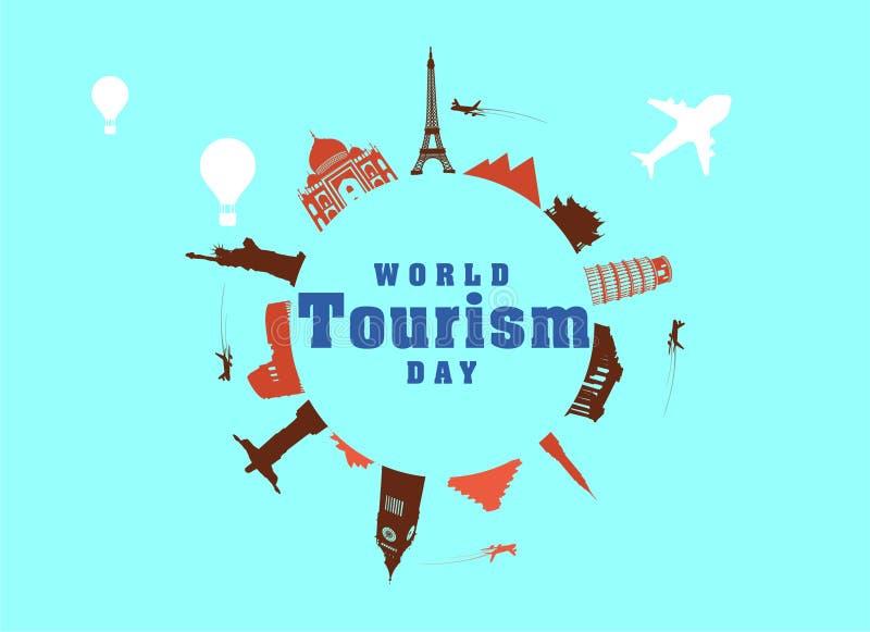 Imagen del vector de la tarjeta de felicitación del día de turismo de mundo stock de ilustración